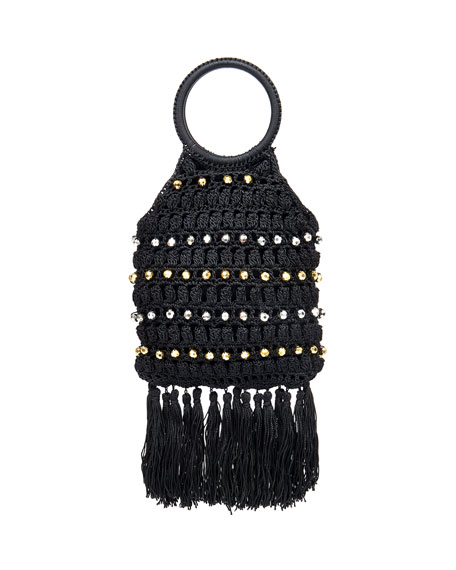 Rafe Sara Ring-Handle Macrame Tassel Bag