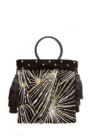 Rafe Audrey Ring-Handle Beaded Pouch Bag