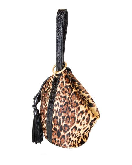 Rafe Kim Leopard Calf Hair Wrist Purse