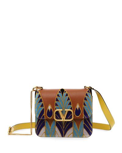VSLING Ricamo Feathers Box Shoulder Bag