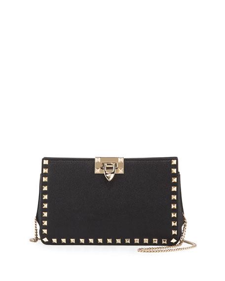 Valentino Garavani Rockstud Lux Buffalo Leather Clutch Bag