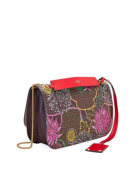 Valentino Garavani VLOCK Flower Shoulder Bag with Snakeskin Logo