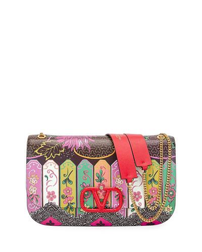 VLOCK Flower Shoulder Bag with Snakeskin Logo