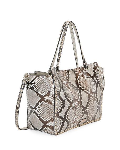Valentino Garavani Rockstud Medium Python Tote Bag
