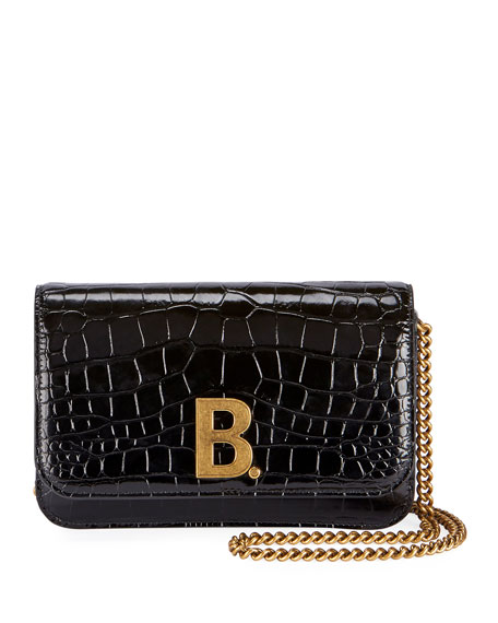Balenciaga B Croc-Embossed Wallet on Chain
