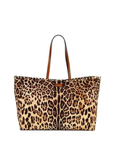 Rockstud Leopard Canvas Tote Bag