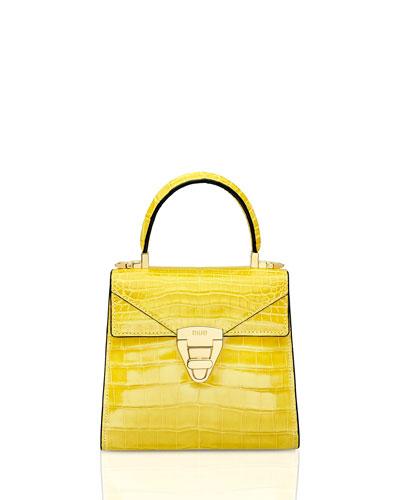 Mini Trapezoid Crocodile Top Handle Bag  Yellow