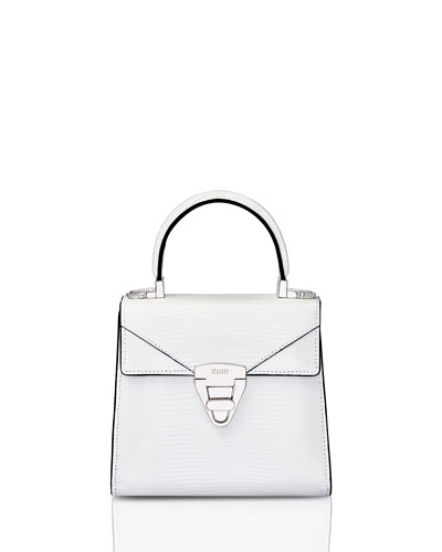 Mini Trapezoid Crocodile Top Handle Bag  White