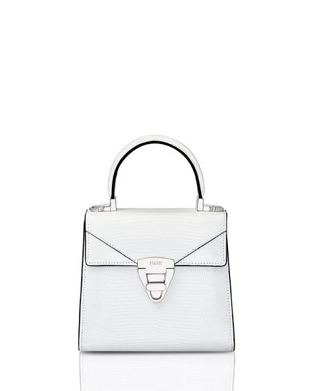 STALVEY Mini Trapezoid Crocodile Top Handle Bag, White