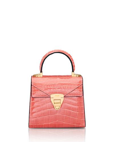 Mini Trapezoid Crocodile Top-Handle Bag