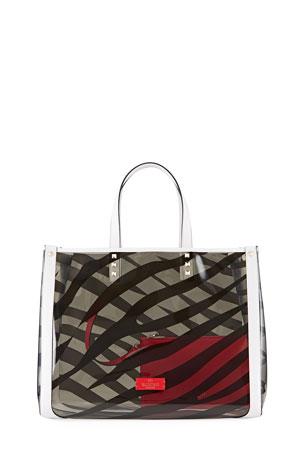 Valentino Garavani Zebra Grande Plage Polymeric Tote Bag
