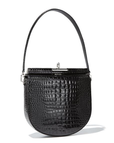 Gu_de Demilune Small Crocodile-Embossed Shoulder Bag