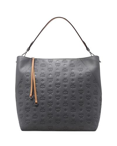 Klara Large Monogrammed Leather Hobo Bag
