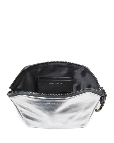 Transience Zip-Top Metallic Leather Cosmetics Bag