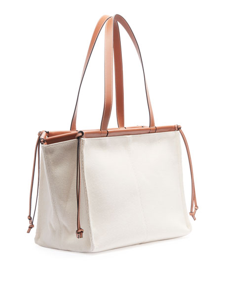 Image 2 of 2: Loewe Cushion Canvas Tote Bag, Beige