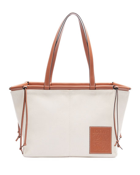 Image 1 of 2: Loewe Cushion Canvas Tote Bag, Beige