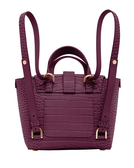 Image 2 of 4: Senreve Mini Maestra Mock-Croc Convertible Backpack Satchel Bag