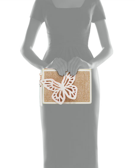 Image 3 of 3: Sophia Webster Flossy Butterfly Embellished Woven Leather Pochette Clutch Bag