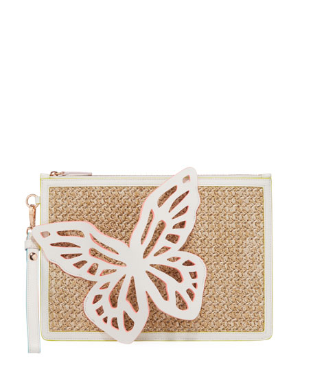 Image 1 of 3: Sophia Webster Flossy Butterfly Embellished Woven Leather Pochette Clutch Bag