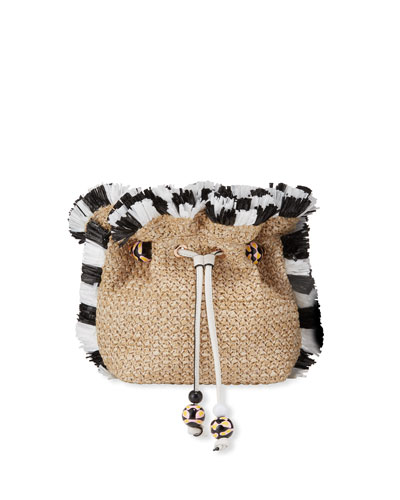 Emmie Raffia Shoulder Bag with Bicolor Fringe