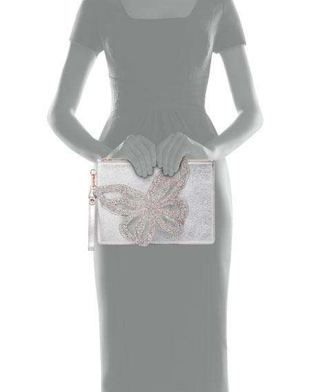 Sophia Webster Flossy Metallic Butterfly Embellished Pochette Clutch Bag