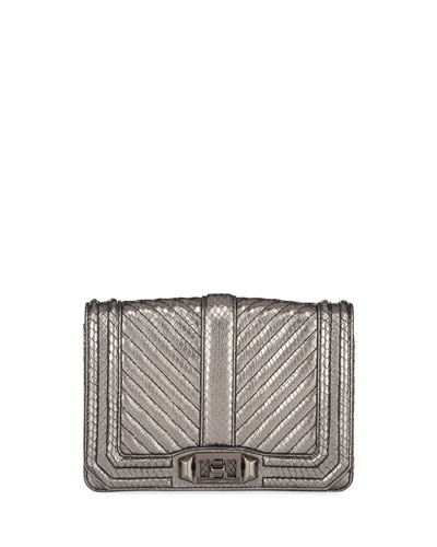 Love Small Chevron Quilted Embossed Leather Crossbody Bag