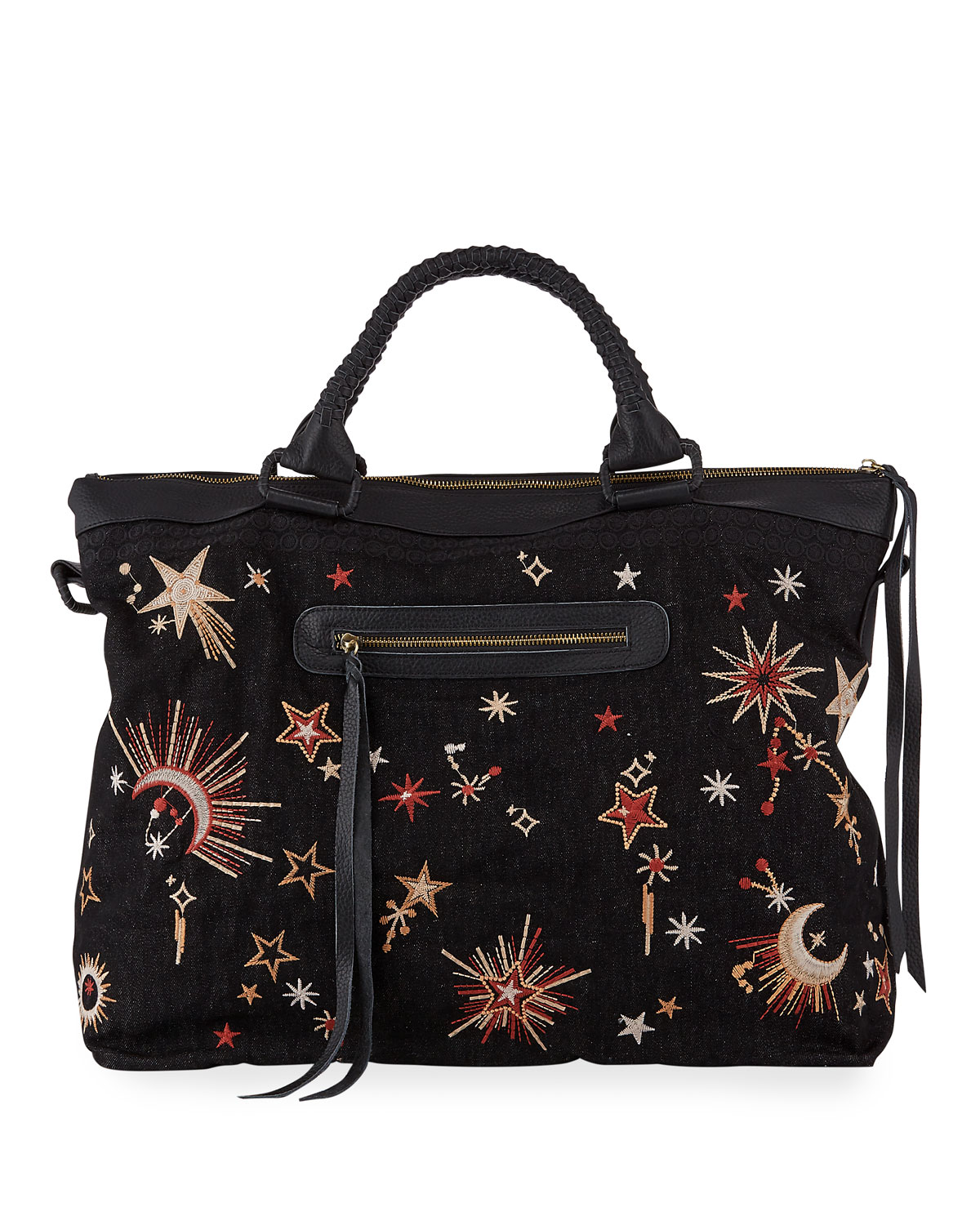 Telesto Celestial Embroidered Overnight Tote Bag by Johnny Was