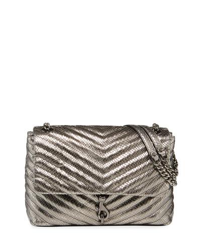Edie Metallic Leather Flap Shoulder Bag