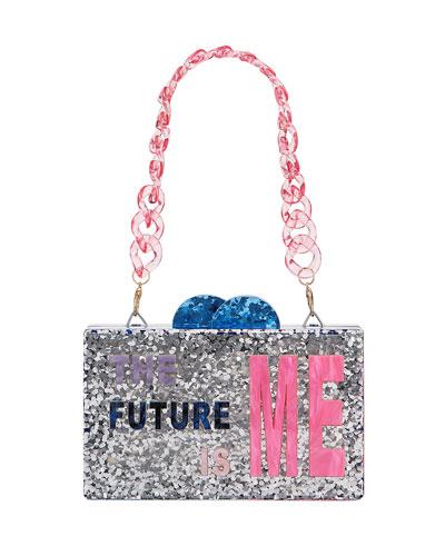 Girl's The Future Is Me Acrylic Box Clutch Bag
