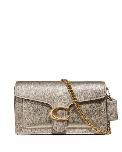 Metallic Pebbled Leather Shoulder Bag