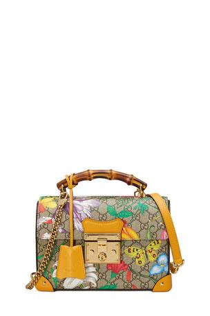 Gucci Padlock Small Flora GG Supreme Bamboo Top-Handle Shoulder Bag