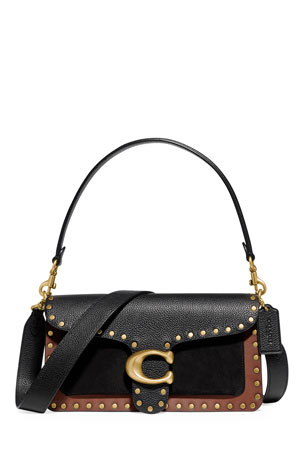 Coach 1941 Tabby 26 Mixed Leather Shoulder Bag With Border Rivets