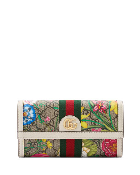 Gucci Ophidia GG Flora Flap Continental Wallet