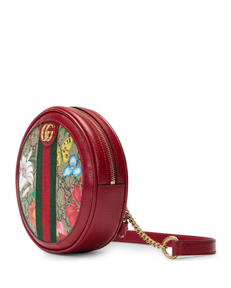 Gucci Ophidia Mini Round GG Flora Chain-Strap Backpack