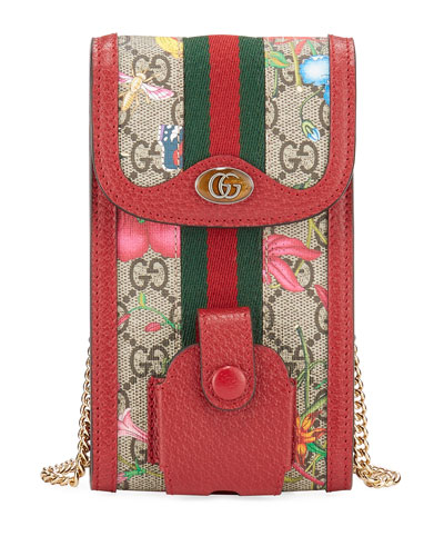 Ophidia GG Flora Phone Case Crossbody Bag