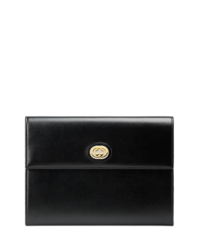 Marina Leather Flap Pouch Clutch Bag
