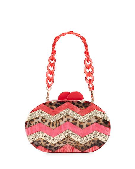 Bari Lynn Girl's Mixed Leopard Zigzag Acrylic Oval Clutch Bag
