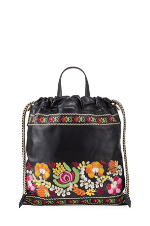Etro Convertible Embroidered Leather Pochette Backpack