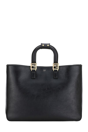 Fendi Glacier Large Calf Leather Shopping Tote Bag