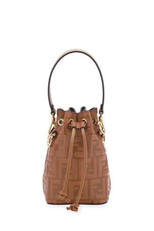 Fendi Mon Tresor Mini FF-Embossed Leather Bucket Bag