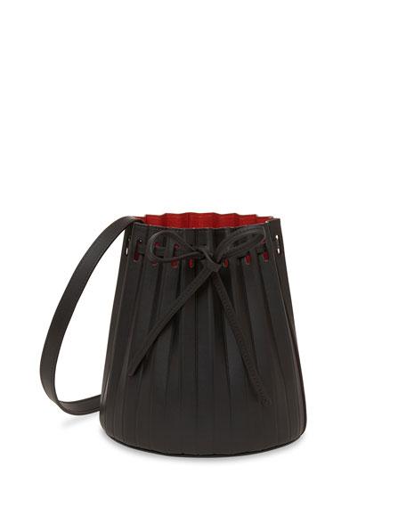 Mansur Gavriel Mini Pleated Vegetable-Tanned Bucket Bag