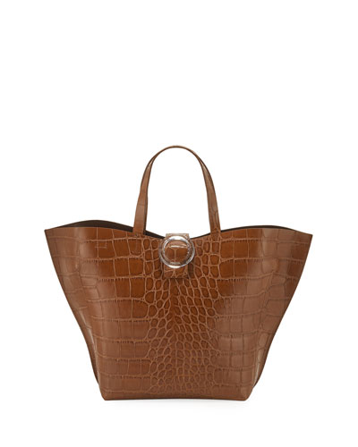 Shell Croco-Stamped Tote Bag