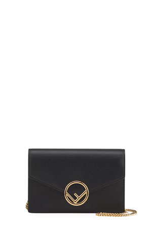 Fendi F Logo Medium Leather Wallet on a Chain