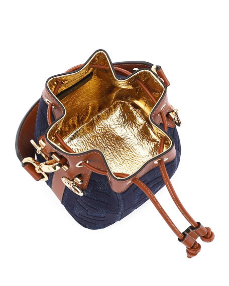 Image 2 of 3: Fendi Mon Tresor Mini Jeans Reactive Bucket Bag