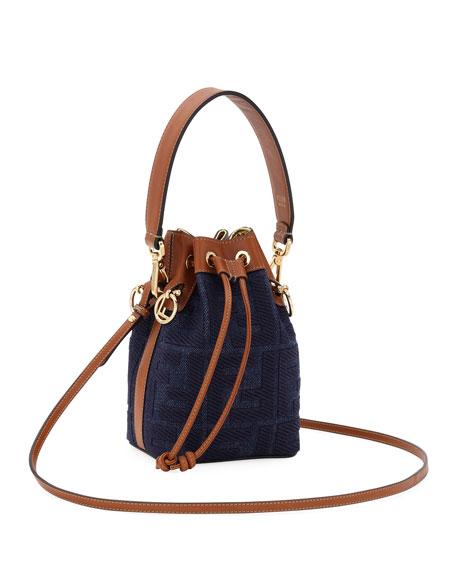 Image 3 of 3: Fendi Mon Tresor Mini Jeans Reactive Bucket Bag