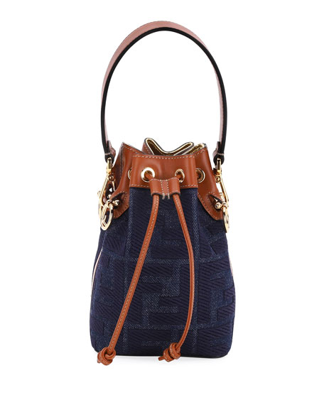 Image 1 of 3: Fendi Mon Tresor Mini Jeans Reactive Bucket Bag