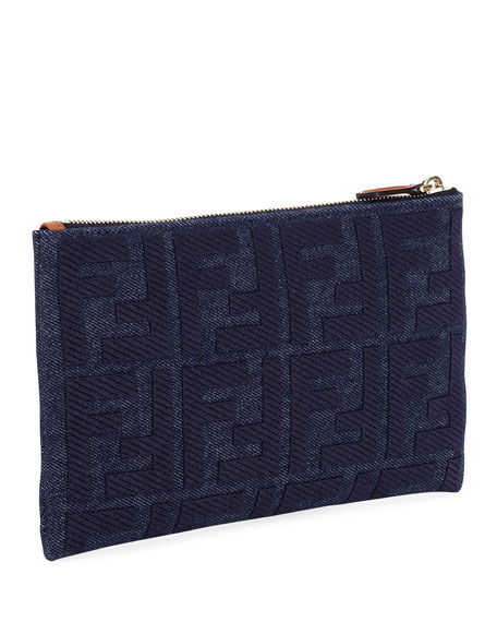 Fendi FF Jeans Reactive Embroidery Wallet