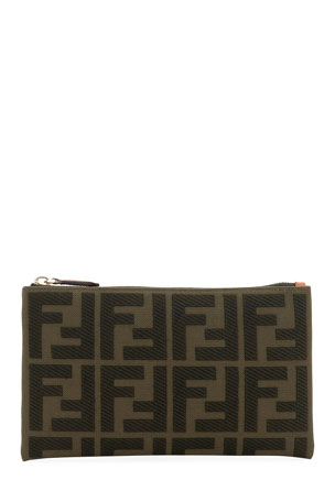 Fendi FF Small Canvas Embroidered Wallet