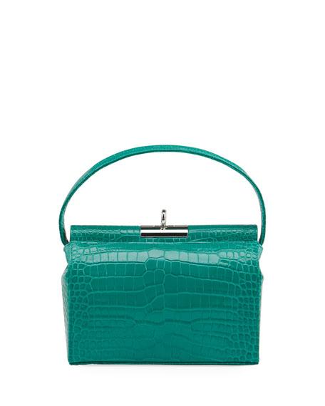 Gu_de Milky Shiny Croc-Embossed Top-Handle bag