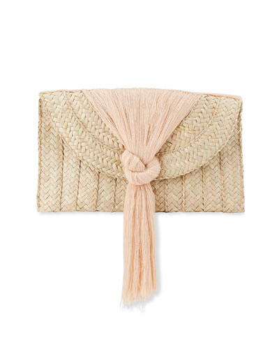 Betula Woven Knotted Fringe Clutch